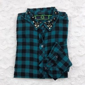Embellished Teal Check Plaid Button Down Flannel